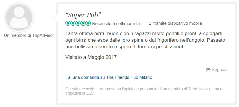 recensione The friends pub