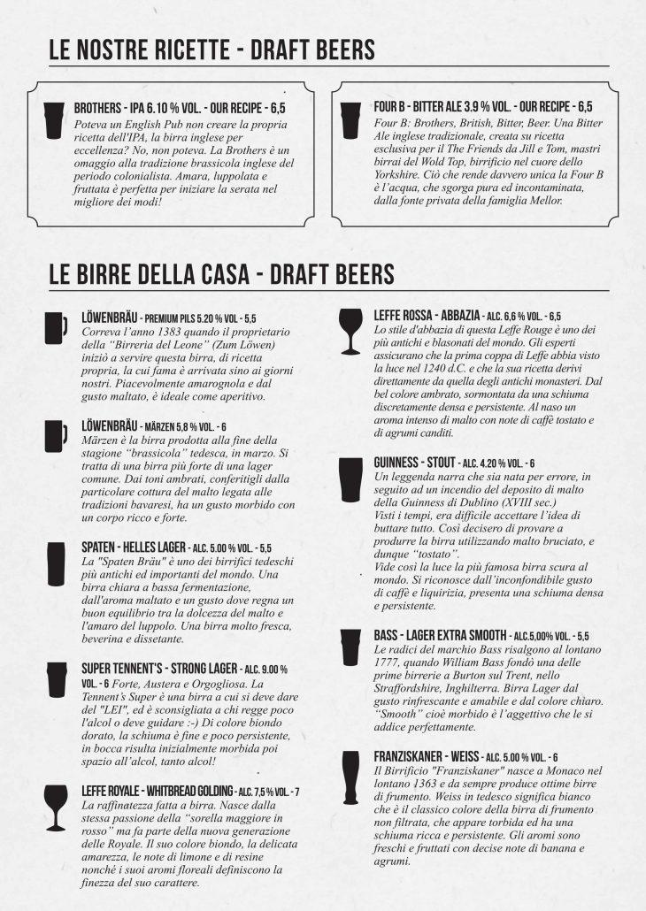 Menù-Birre-spina-Oct2017-the Friends pub milano